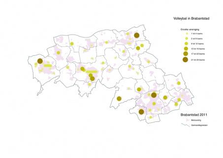 Kaart Brabantstad grootte volleybalverenigingen